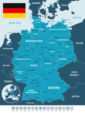 Germany map, flag and navigation labels - illustration. Image contains land contours, country and land names, city names, water object names, flag, navigation icons.