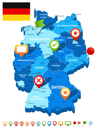 Germany map 3D, flag and navigation icons - illustration.