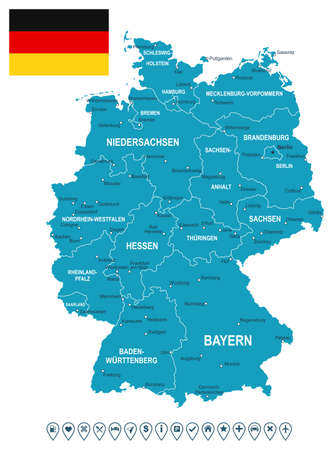 Map of Germany and flag - highly detailed vector illustration. Image contains land contours, country and land names, city names, flag, navigation icons.