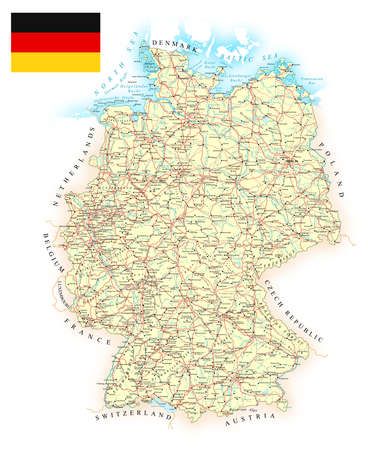 Germany - detailed map - illustration. Map contains topographic contours, country and land names, cities, water objects, roads, railways.