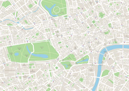 London Map. Highly detailed vector map of London. Map includes streets, parks, names of subdistricts, points of interests.