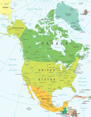 North America map - highly detailed vector illustration.