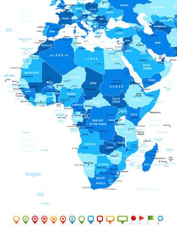 Illustration pour Africa - map and navigation icons - illustration. - image libre de droit