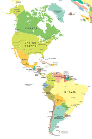 North and South America map - highly detailed vector illustration.