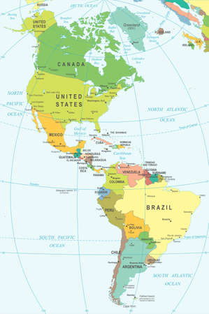 North and South America - map - illustration. Colored and Grid.