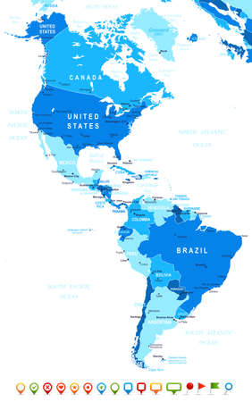 Illustration pour North and South America map - highly detailed vector illustration Image contains land contours, country and land names, city names, water object names, navigation icons. - image libre de droit