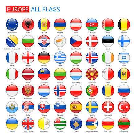 Illustration for Glossy Round Flags of Europe - Full Collection. - Royalty Free Image