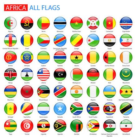 Ilustración de Round Glossy Flags of Africa - Full Collection. Set of African Flag Buttons. - Imagen libre de derechos
