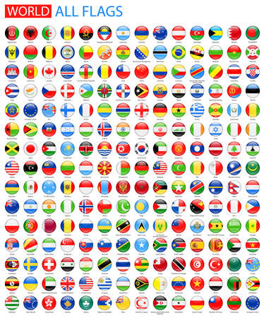Round Glossy All World Vector Flags. Vector Collection of Flag Icons.