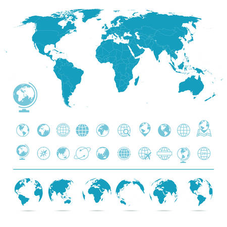 Vektor für World Map, Globes Icons and Symbols - Illustration. set of world map and globes. - Lizenzfreies Bild