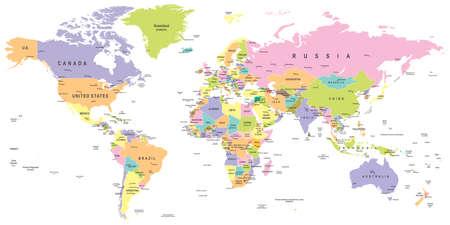 Illustration pour Colored World Map - borders, countries and cities - illustration - image libre de droit