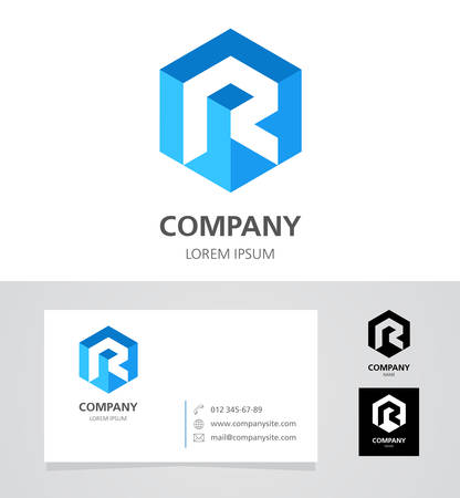 Letter R -  Design Element with Business Card - illustration