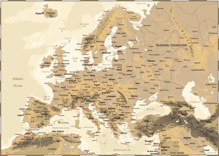 Illustration pour Highly detailed colored vector illustration of Europe map -borders, countries and cities - illustration - image libre de droit