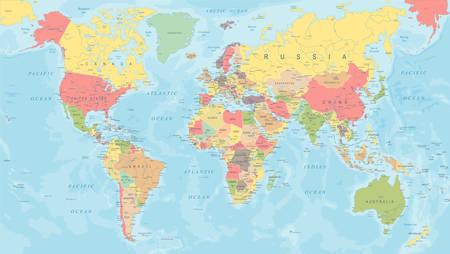 Illustration pour Colored World Map - Detailed Vector Illustration - image libre de droit