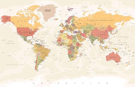 Illustration pour Vintage World Map - Detailed Vector Illustration - image libre de droit
