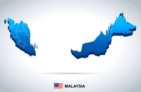 Ilustración de Malaysia map and flag - vector illustration - Imagen libre de derechos