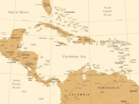 Central America Map - Vintage Detailed Vector Illustration ...