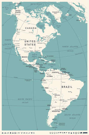 North and South America Map - Vintage Detailed Vector Illustration ...