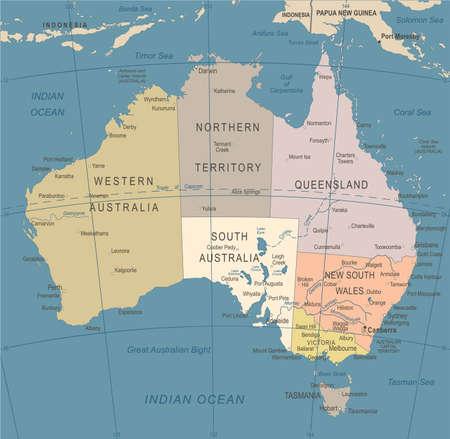 Australia Map - Vintage Detailed Vector Illustration