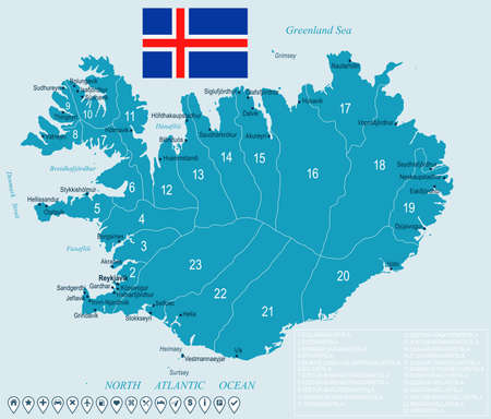 Iceland map and flag - High Detailed Vector Illustration ...