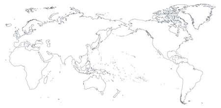 Illustration pour World Map Outline Contour Silhouette - Asia in Center - vector - image libre de droit