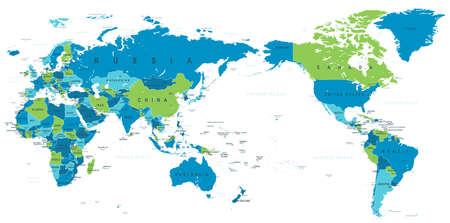 Illustration pour Political world map Pacific centered - vector. - image libre de droit