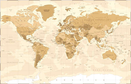 Illustration pour Political vintage golden world map vector illustration. - image libre de droit