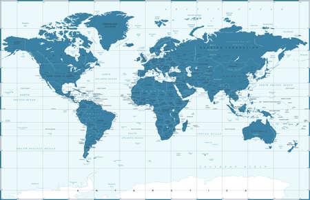 Illustration pour Political Blue World Map Vector illustration - image libre de droit