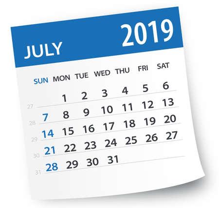 Illustration pour July 2019 Calendar Leaf - Illustration. Vector graphic page - image libre de droit