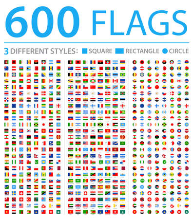 Illustration pour All World Flags - Three Different Styles: Circle, Square, Rectangle - Vector Flat Icons - image libre de droit