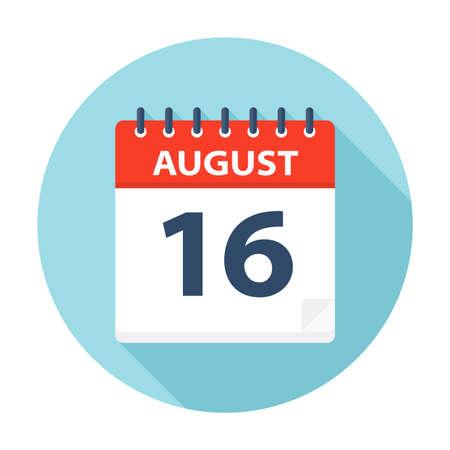 Illustration pour August 16 - Calendar Icon - Vector Illustration - image libre de droit