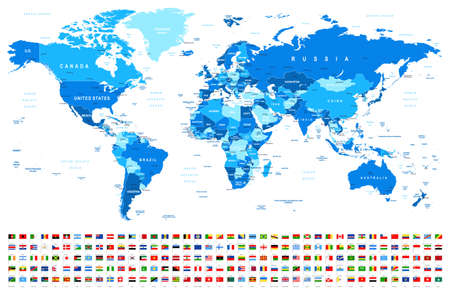 Illustration pour Blue World Map and Flags - borders, countries and cities -vector illustration - image libre de droit