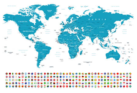 Illustration pour World Map and Flags - borders, countries and cities -vector illustration - image libre de droit
