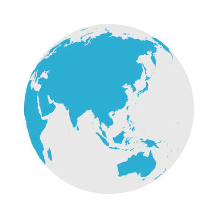 Illustration for Globe Icon - Round World Map Flat Vector Illustration - Royalty Free Image