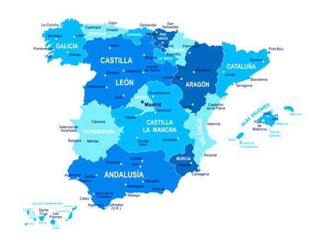 Illustration pour Spain map. Cities regions Vector illustration - image libre de droit