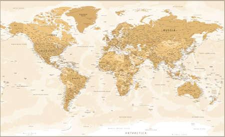 Illustration pour World Map - Golden Vintage Political Topographic - Vector Detailed Layered - image libre de droit