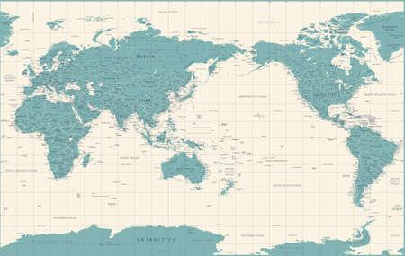 Illustration pour World Map - Pacific China Asia View - Vintage Political Topographic - Vector Detailed - image libre de droit