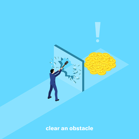 a man in a business suit with a hammer smashes a wall blocking the way to money, an isometric image