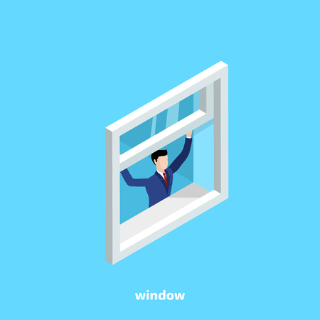 Illustration pour a man in a business suit opens a window on a blue background, an isometric image - image libre de droit