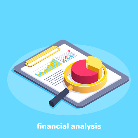 Isometric vector image on a blue background, business tablet with charts and magnifier, financial analytics.