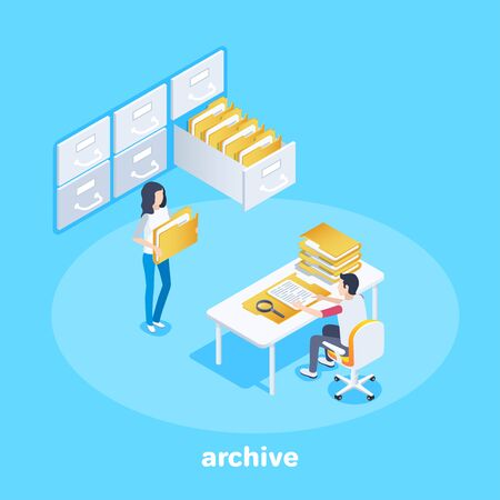 Illustration pour isometric vector image on a blue background, a man sits at a table with folders and a girl with documents from archive shelves - image libre de droit