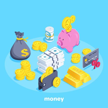 Illustration for isometric vector image on a blue background, a wallet with coins and banknotes, a piggy bank and a bag of money, gold bars and a bank card, a set of objects on the theme of money - Royalty Free Image