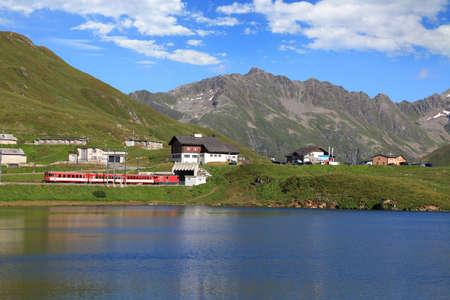 mountain lake on Oberalp Pass. Switzerland