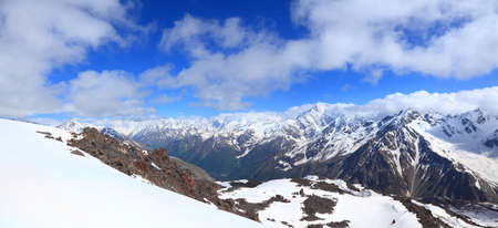 panoramic view of the central part of the main caucasus ridge