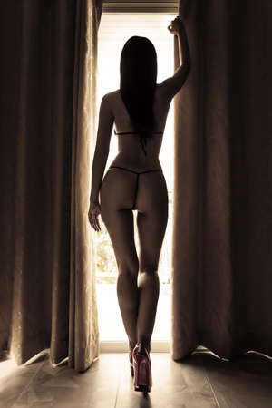 Photo pour Silhouette of beautiful sexy woman against the window in the morning, sepia image - image libre de droit