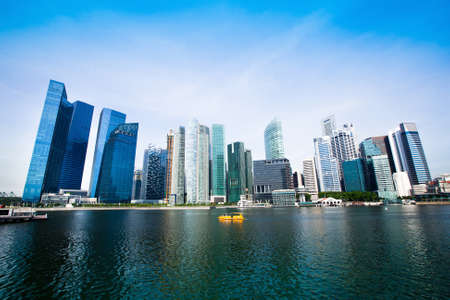 Skyscrapers of Singapore business district Marina Bay