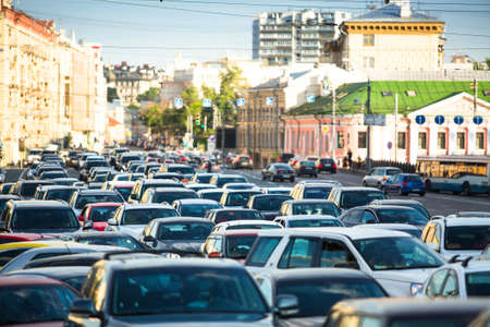Cars stands in traffic jam in Moscow