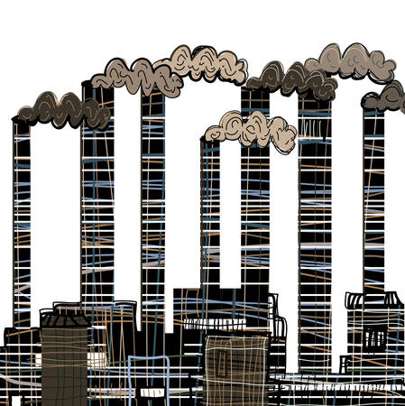 Factory. Industrial building factory, smoke from the chimneys, vector illustration in cartoon stile.