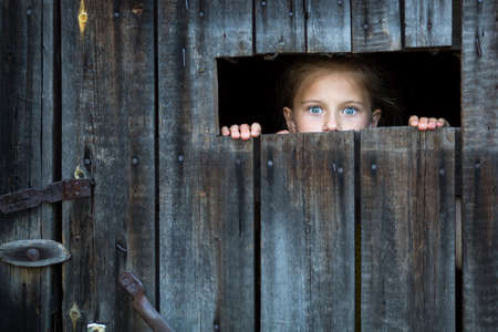 Photo pour Locked the child anxiously looks through the crack in the barn door. - image libre de droit