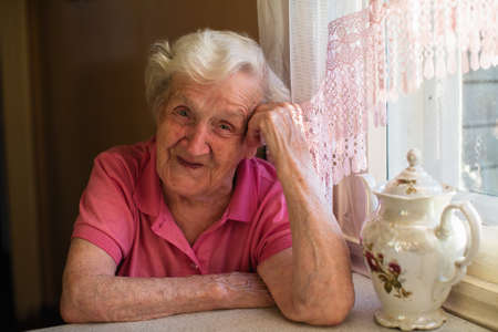 Portrait of elderly woman in her home at kitchen.